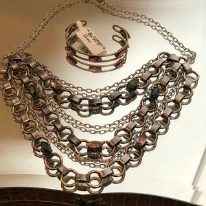 Silver Metal Multi Color Rhinestone Necklace
